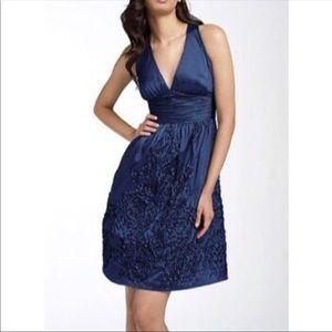 NWOT Adrianna Papell Rosette Halter Blue Dress